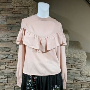 4/$25  Hippie laundry ruff blouse size L nwt